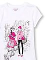 The Children's Place Girls White Short Sleeve Glitter Dog Walker Fashionista Graphic Tee
