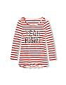 The Children's Place Girls Long Sleeve Sequined Graphic Striped High-Low Tunic