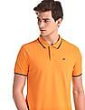 Ruggers Orange Tipped Collar Solid Polo Shirt