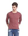 Flying Machine Red Patterned Knit Henley T-Shirt
