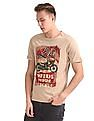 Cherokee Beige Upturned Sleeve Printed T-Shirt