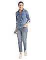 Flying Machine Women Roll Up Sleeves Acid Wash Denim Shirt